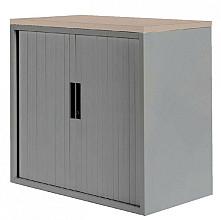 Roldeurkast 20H aluminiumlook met topblad eiken