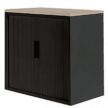 Roldeurkast 30H zwart met topblad eiken