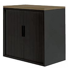 Roldeurkast 30H zwart met topblad noten