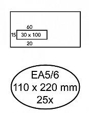 Envelop Quantore 110x220mm venster 3x10cm links zelfkl 25st