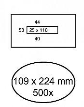 Envelop Hermes 109x224mm venster 2,5x11mm midden 500stuks