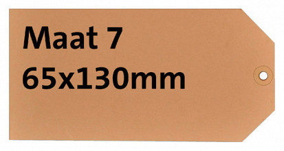 Label karton nr7 200gr 65x130mm chamois 1000stuks