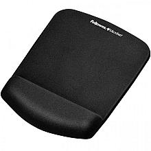 Muismat met polssteun Fellowes Plush Touch zwart