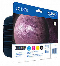 Inktcartridge Brother LC-1220VALBP zwart + 3 kleuren