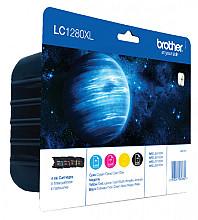 Inktcartridge Brother LC-1280XLVALBP zwart + 3 kleuren HC