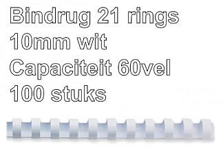 Bindrug Fellowes 10mm 21rings A4 wit 100stuks