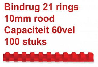 Bindrug Fellowes 10mm 21rings A4 rood 100stuks