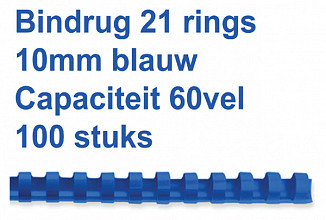 Bindrug Fellowes 10mm 21rings A4 blauw 100stuks