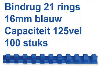 Bindrug Fellowes 16mm 21rings A4 blauw 100stuks