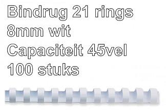 Bindrug Fellowes 8mm 21rings A4 wit 100stuks