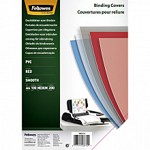 Voorblad Fellowes A4 PVC 200micron transparant rood 100stuks