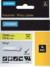 Labeltape Dymo Rhino 18432 12mmx5.5m vinyl zwart op geel