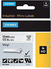 Labeltape Dymo Rhino 18444 vinyl 12mmx5.5m zwart op wit