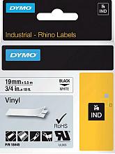 Labeltape Dymo Rhino 18445 vinyl 19mmx5.5m zwart op wit