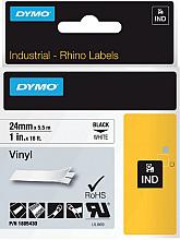 Labeltape Dymo Rhino 18054 vinyl 24mmx5.5m zwart op wit