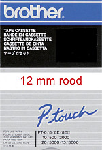 Labeltape Brother P-touch TC-202 12mm rood op wit