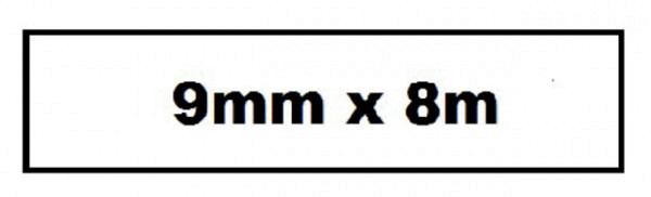 Labeltape Quantore TZE-221 9mm x 8m wit/zwart
