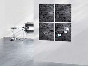 Glasbord Sigel magnetisch 480x480x15mm leisteen