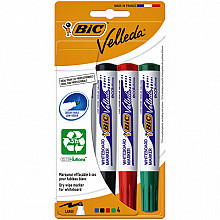 Viltstift Bic 1704 whiteboard rond assorti 1.4mm blister à 4 stuks