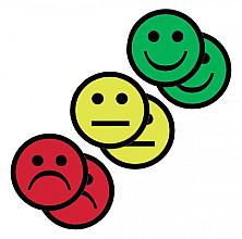 Magneet smiley 75mm 2x geel 2x groen 2x rood