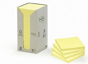 Memoblok 3M Post-it 654 76x76mm recycled pastel geel
