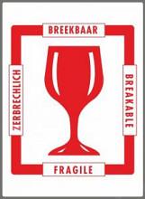 Stickers/ etiketten Voorzichtig Breekbaar 500 stuks 4 talen 110x80mm