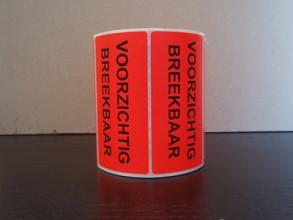 Stickers/ etiketten Voorzichtig Breekbaar oranje 96x48mm 500 stuks